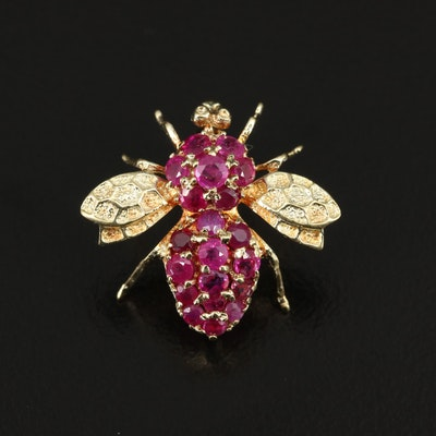14K Ruby Bee Converter Brooch