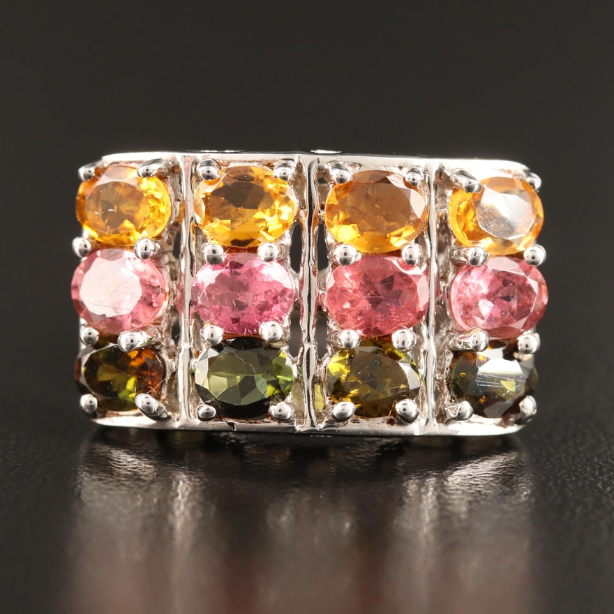 Sterling Silver Multi-Row Tourmaline Ring