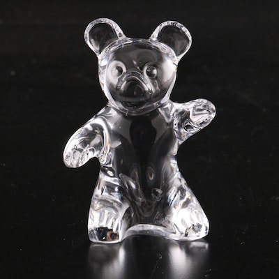 Daum France Crystal Teddy Bear Figurine