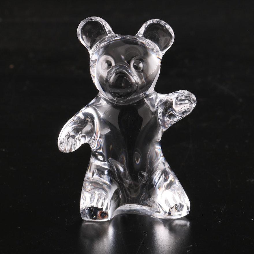 Daum France Crystal Teddy Bear Figurine