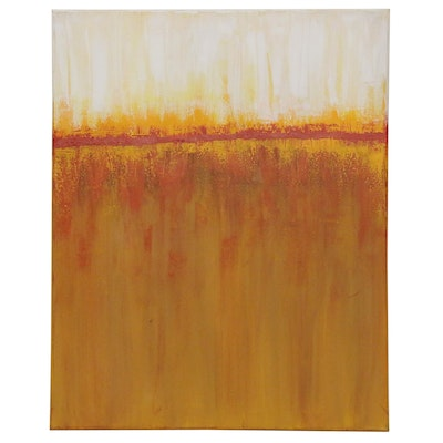 "Sanna Abstract Acrylic Painting ""Fall Sunrise"", 2020"