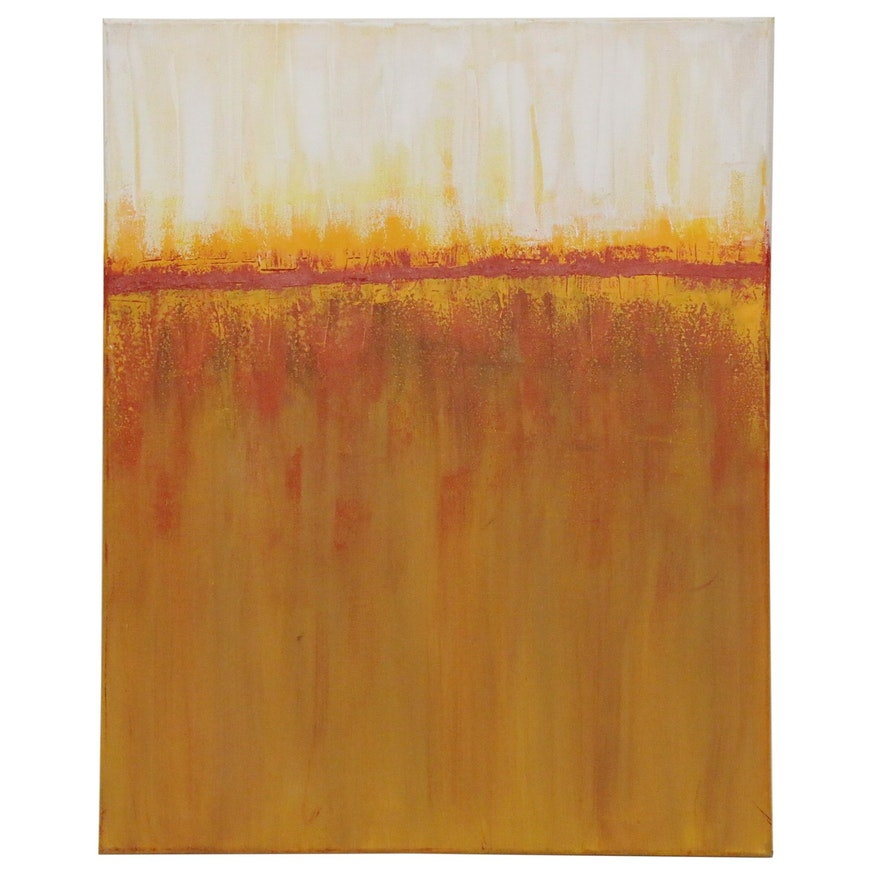 """Sanna Abstract Acrylic Painting """"Fall Sunrise"""", 2020"""