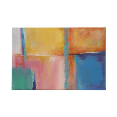 "Sanna Abstract Acrylic Painting ""Maize"", 2020"