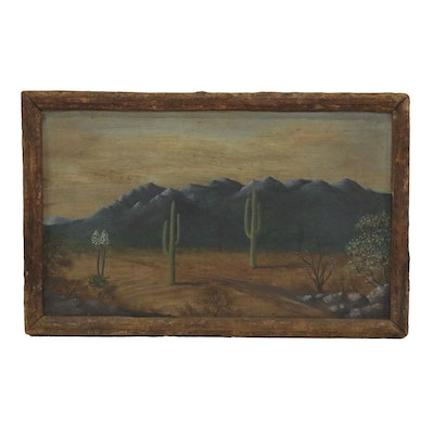 Desert Landscape Oil Painting of Tucson, Arizona, Circa 1935