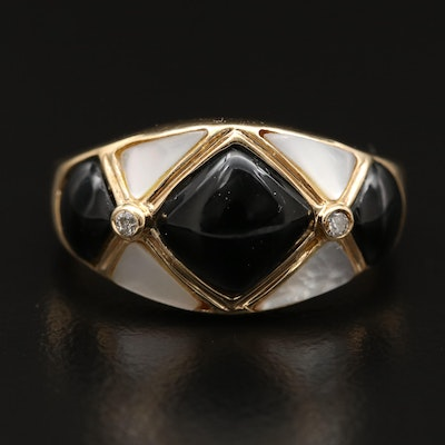 14K Inlaid Black Onyx and Mother of Pearl Harlequin Ring with Diamond Accents