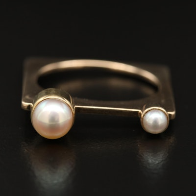 Marraccini Designs 14K Pearl Square Shank Ring