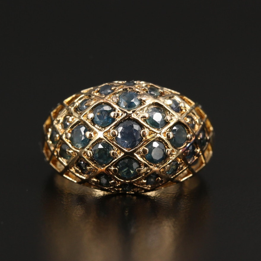 Sterling Sapphire Domed Ring