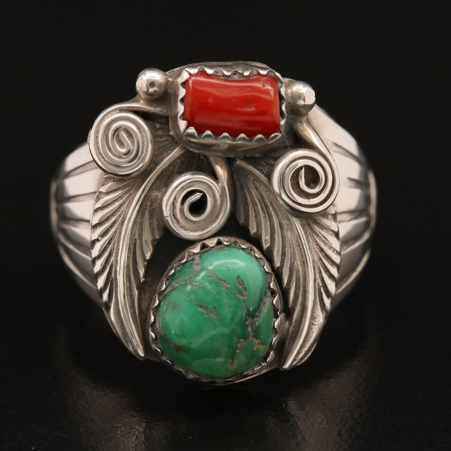 Signed Western Sterling Variscite and Coral Ring