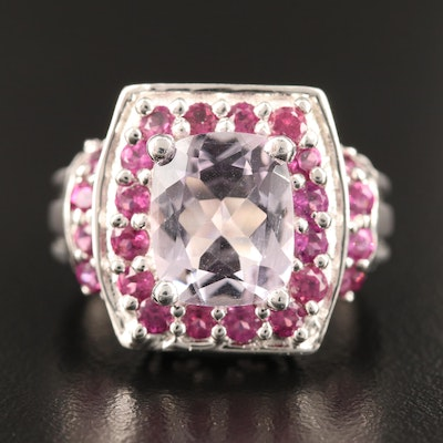 Sterling Silver Amethyst and Rhodolite Garnet Ring