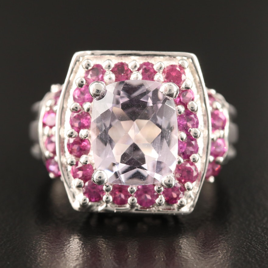 Sterling Silver Amethyst and Rhodolite Garnet Ring