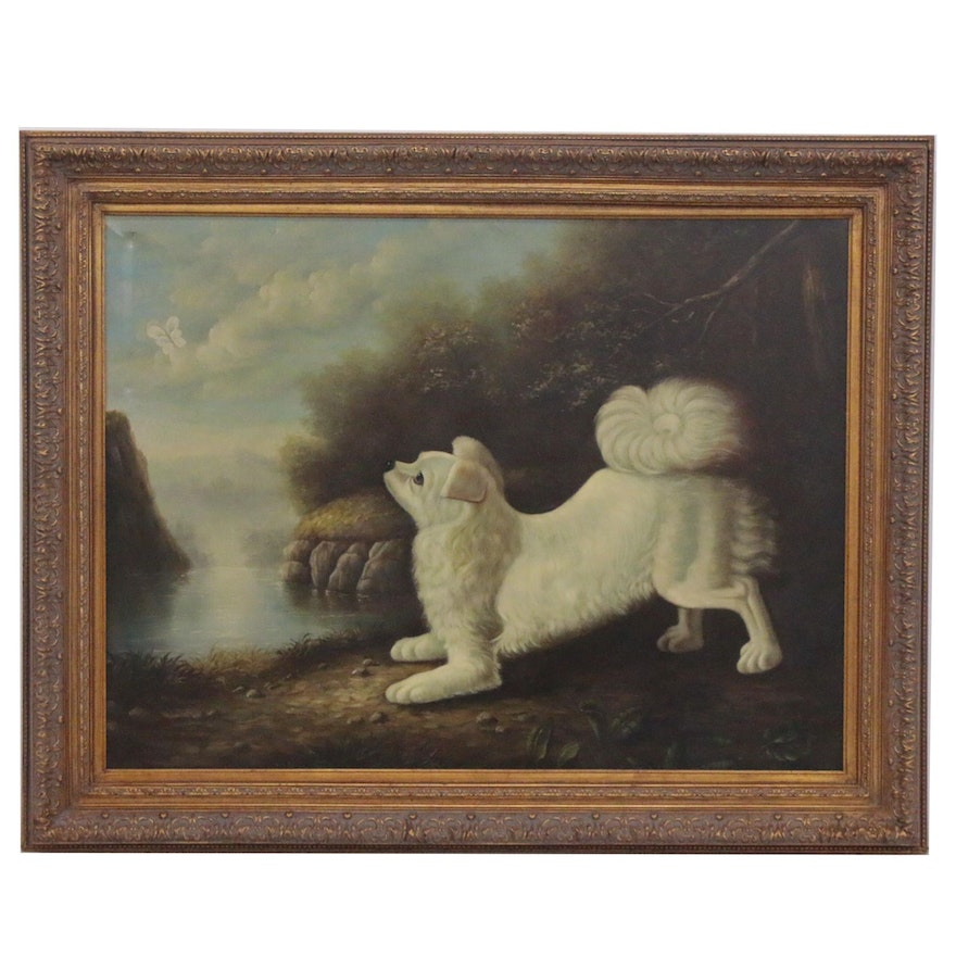 Canine Portrait Oil Painting after George Stubbs, 20th Century