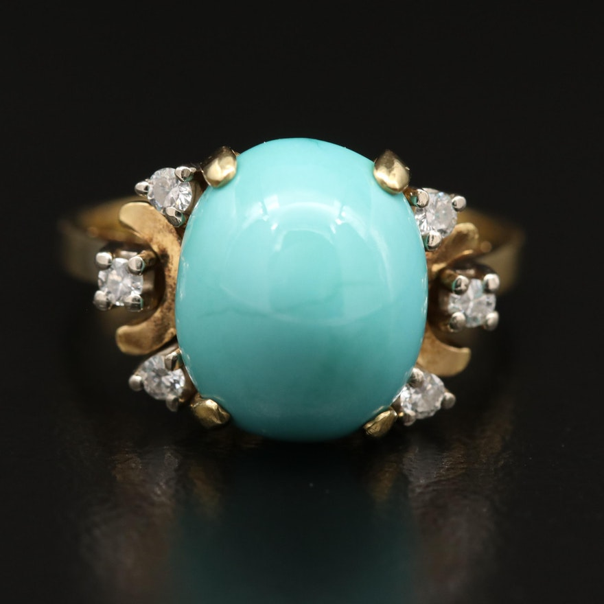 Vintage 18K Turquoise and Diamond Ring