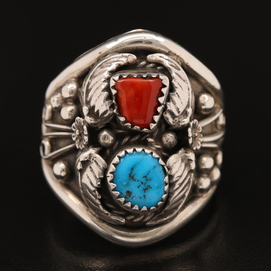 Signed Western Sterling Coral and Turquoise Ring