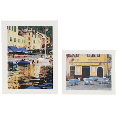 "Stan Beckman Offset Lithographs ""Portofino"" and ""Trattoria,"" Late 20th Century"