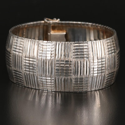 Sterling Silver Omega Bracelet with Crosshatch Pattern