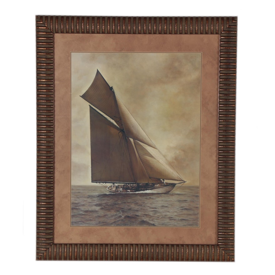 """Offset Lithograph of Nautical Scene after William Matthews """"Caress"""""""