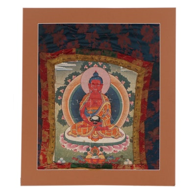 Tibetan Style Thangka Gouache Painting of Amitabha Buddha, 20th Century