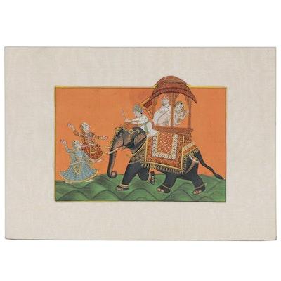 Indian Rajput Style Erotic Gouache Painting, 20th Century