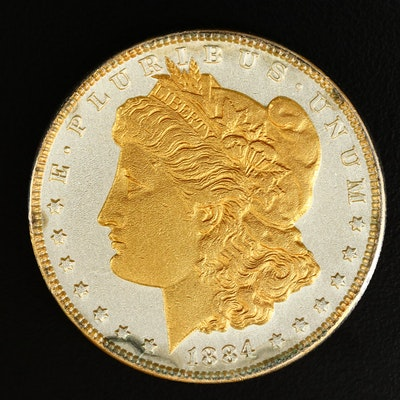 1884 Gold Plated Clear Epoxy Sealed Morgan Silver Dollar