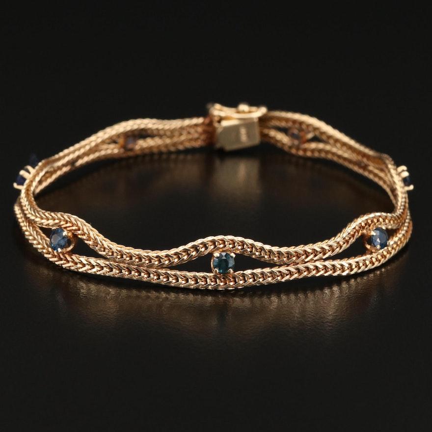 14K Sapphire Foxtail Bracelet