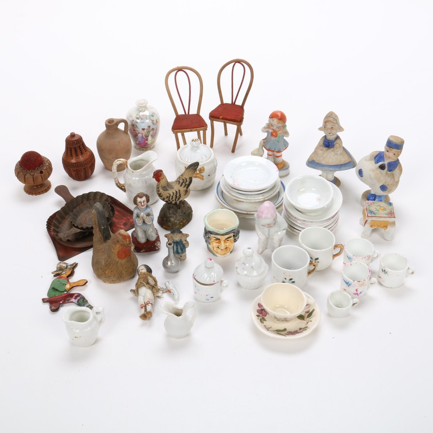 Miniatures, Doll House Decor, and Figurines Including Bobbles, Early/Mid 20th C.