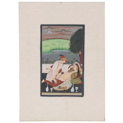 Indian Rajput Style Erotic Gouache Painting, 20th Century