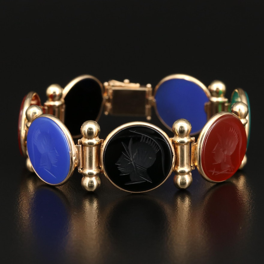 14K Carved Intaglio Panel Bracelet with Black Onyx, Carnelian and Chalcedony