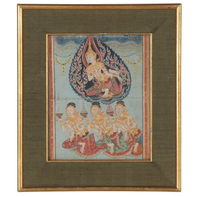 Thai Gouache Illustrations from Legend of Phra Malai Manuscript