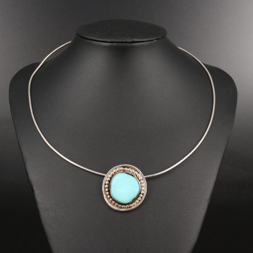 Sterling Turquoise Pendant Collar Necklace
