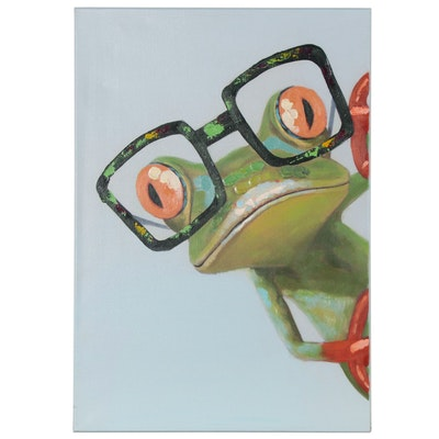 Embellished Giclée of a Red-Eyed Tree Frog Wearing Glasses