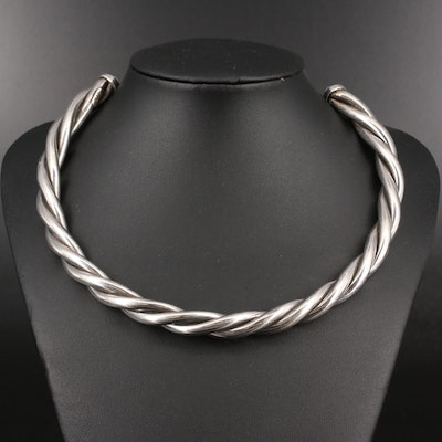 Mexican Sterling Silver Twisted Collar Necklace