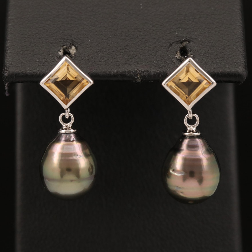 Sterling Pearl and Citrine Drop Earrings