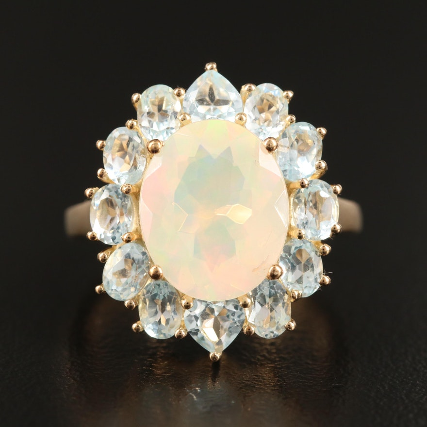 Sterling Silver Opal and Topaz Halo Cocktail Ring