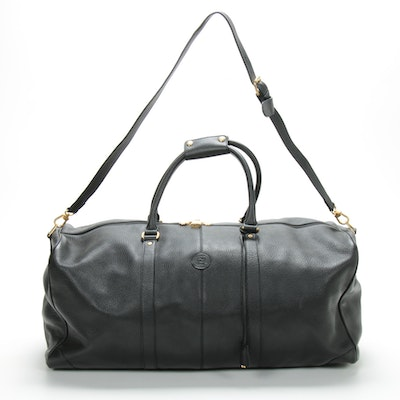 Fendi Duffle Bag in Black Grained Leather with Detachable Shoulder Strap