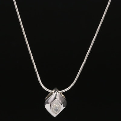 18K 0.47 CT Diamond Solitaire Pendant on Sterling Snake Link Chain