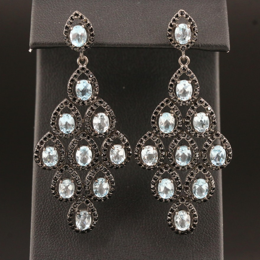 Sterling Silver Topaz and Spinel Drop Earrings
