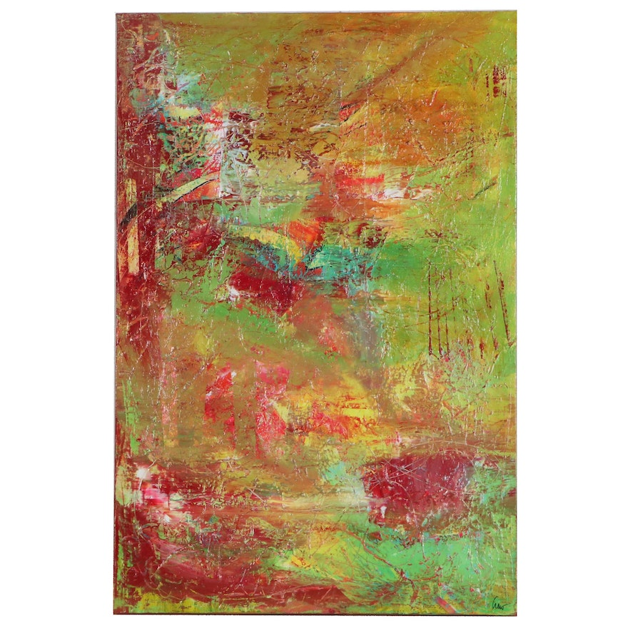 "Susan Crew Abstract Painting ""Bird Woman,"" 21st Century"
