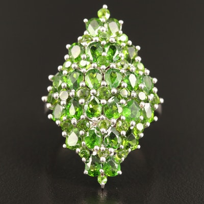 Sterling Silver Diopside Cluster Ring