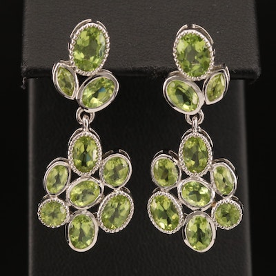 Sterling Peridot Cluster Drop Earrings
