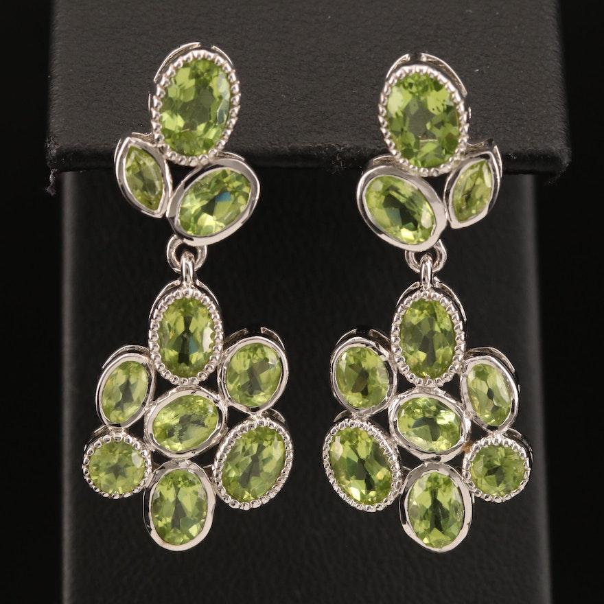 Sterling Peridot Cluster Drop Earrings