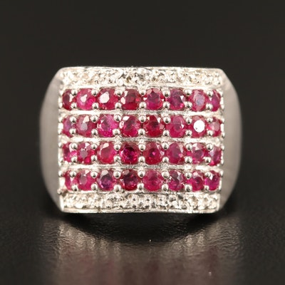 Sterling Silver Ruby Multi-Row Ring