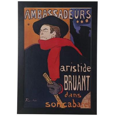 """Offset Lithograph after Henri de Toulouse-Lautrec """"Ambasadeurs: Aristide Bruant"""""""