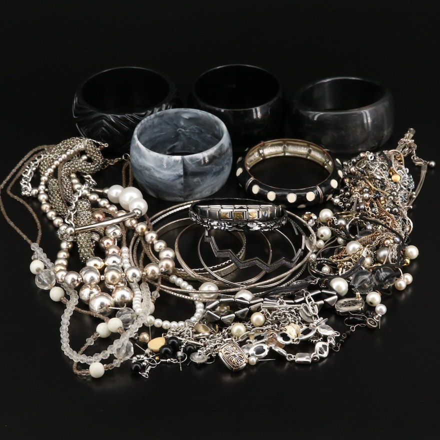 Monochromatic Jewelry Including Faux Pearl, Glass and Lucite