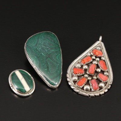 Southwestern Sterling Malachite, Coral and Shell Pendants and Bolo Tie Slide