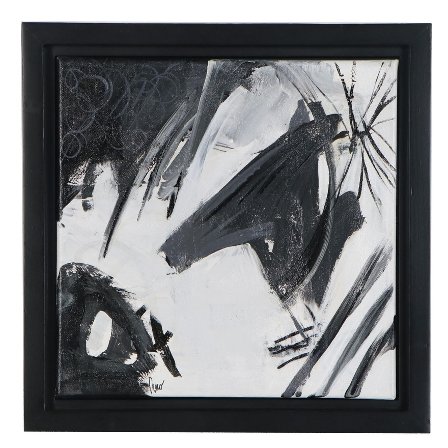 "Susan Crew Abstract Acrylic Painting ""Hoofbeats,"" 21st Century"
