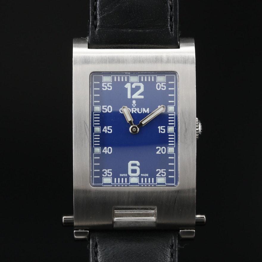 """Corum """"Taboggan"""" Stainless Steel Folding Case Quartz Wristwatch"""