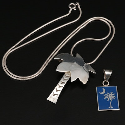 Sterling Silver Palm Tree Pendants with Snake Link Chain
