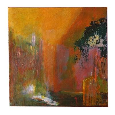 "Susan Crew Acrylic Painting ""Garden Gate,"" 21st Century"