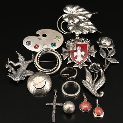 Sterling Silver Jewelry Including Rhodochrosite, Danecraft and Thai Pieces