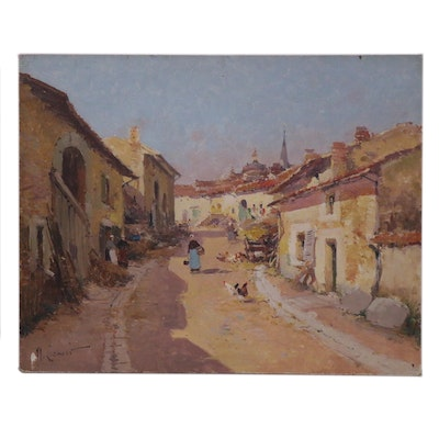 "Maurice Lenoir Oil Painting ""Rue de village animée,"" 19th to 20th Century"